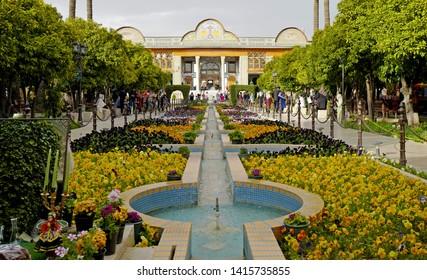 SHIRAZ, IRAN-MARCH 21, 2019: Naranjestan museum and botanical garden, famous place to visit, in Shiraz.