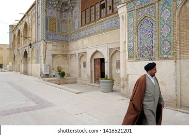 SHIRAZ, IRAN-MARCH 21, 2019: persian palace, with garden courtyard, of the theological college Madraseh-ye Khan, founded in 1615, in Shiraz, in Shiraz.