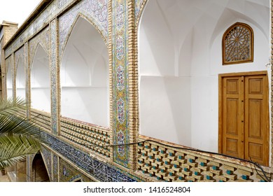 SHIRAZ, IRAN-MARCH 21, 2019: persian architecture, of the theological college Madraseh-ye Khan, founded in 1615, in Shiraz, in Shiraz.