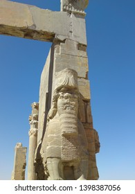 Shiraz, PERSEPOLIS, IRAN: The great entrance to All Nations Gate (Xerxes Gate) in Persepolis archaeological site with giant statues . Ancient city Persepolis- one of UNESCO World Heritage Sites