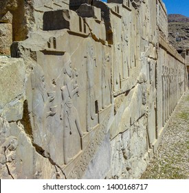 Shiraz, PERSEPOLIS, IRAN,Bas-relief depicts ambassadors, bearing gifts to the king.  Ancient city Persepolis- one of UNESCO World Heritage Sites.