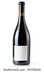 Shiraz red wine in Burgundy style bottle, isolated on white