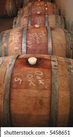 Shiraz wine maturing in oak barrels