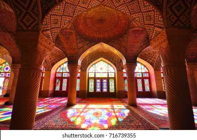 Shiraz,Iran - December 8, 2016 :Photo of the Nasir ol Molk mosque or pink mosque is very famous mosque in Shiraz , Iran
