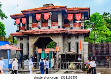 Shirdi, Maharashtra, India - August 2018 : Gate no. 4 for entry in Shirdi Sai mandir and mandir campus at Shirdi.