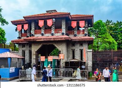 Shirdi, Maharashtra, India - August 2018 : Gate no. 4 for entry in Shirdi Sai mandir and mandir campus at Shirdi.