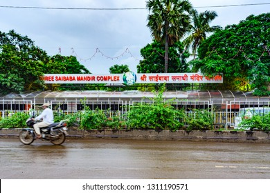 Shirdi, Maharashtra, India - August 2018 : View of outer area of Shree Saibaba mandir complex from roadside at Shirdi.