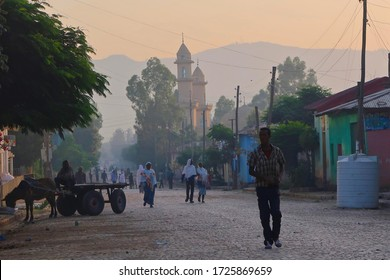 Shire, Northern Ethiopia - 10 15 2017: Early morning misty Ethiopian cobbled street mosque