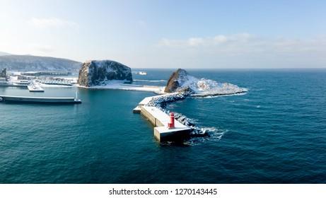 shiretoko port with pharos