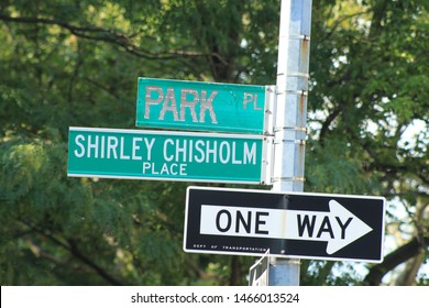 Shirley Chisholm street sign, Shirley Chisholm street sign at park Place at Brewor Park in crown heights Brooklyn on a sunny summer day July 29 2019