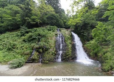 Shirogane waterfalls in Ginzan hotspring, Yamagata, Japan