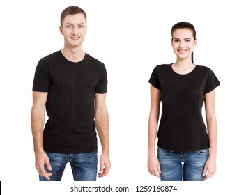 Shirt design close up of  man and woman in blank black t-shirt front isolated. set
