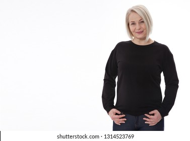 Shirt design and fashion concept. Woman in black sweatshirt, black hoodies, blank isolated on white background. mock up