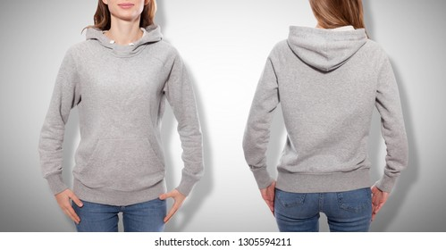 Shirt design and fashion concept - young woman in gray sweatshirt front and rear, gray hoodies, blank isolated on grey background. mock up