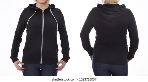 Shirt design and fashion concept - young woman in black sweatshirt front and rear, black hoodies, blank isolated on white background. mock up