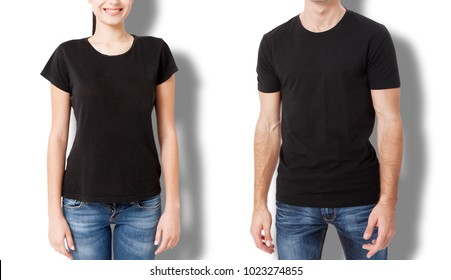 Shirt design and people concept - close up of young man and woman in blank black t-shirt front and rear isolated.