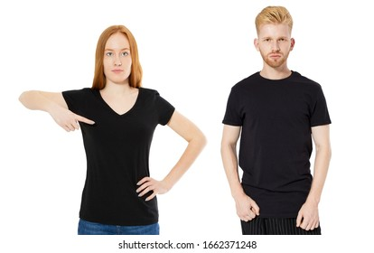 Shirt design and people concept - close up of red hair man and woman in blank black t-shirt front isolated