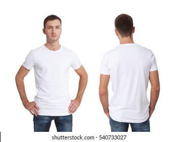 Shirt design and people concept - close up of young man in blank white t-shirt front and rear isolated.