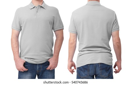 Shirt design and people concept - close up of man in blank t-shirt front and rear isolated. Clean empty mock up template for design set.