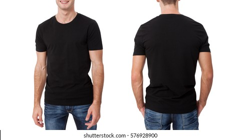 Shirt design and people concept - close up of young man in blank black t-shirt front and rear isolated.