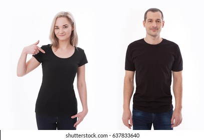 Shirt design and people concept - close up of young man and woman in blank black tshirt front isolated. Mock up template for design print