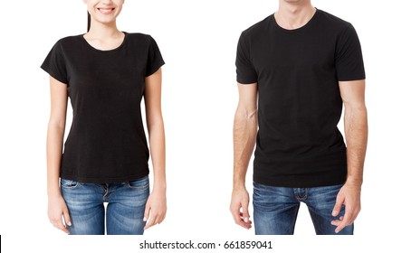 Shirt design and people concept - close up of man and woman in blank black t-shirt front isolated. Mock up template for design print