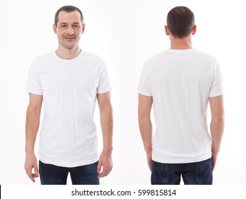 Shirt design and people concept - closeup of young man in blank white tshirt front and rear isolated. Mock up template for design print