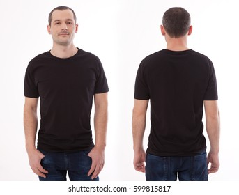 Shirt design and people concept - closeup of young man in blank black tshirt front and rear isolated. Mock up template for design print