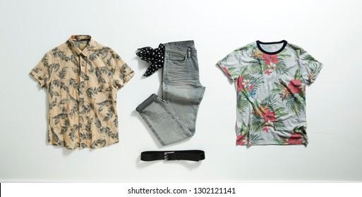 Shirt, jeans, belt. Gray jeans, black belt, short sleeve yellow shirt. Fashionable and trendy, summer mood