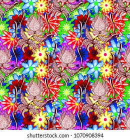 Shirt seamless Background Pattern. Tropical flowers. Flowers on red, neutral, blue, green and yellow colors.