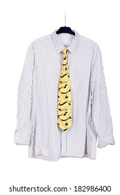 Shirt and tie hanging on the hanger