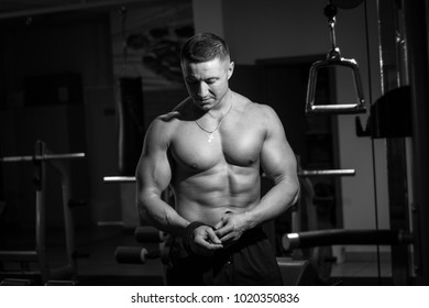 Shirt-less adult man in gym