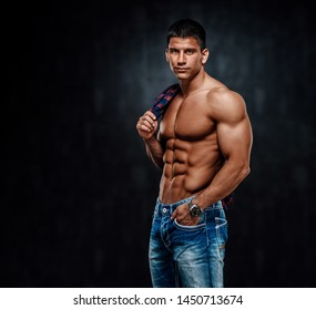 Shirtless Handsome Muscular Male Model in Jeans