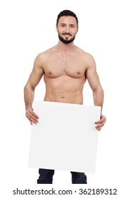 Shirtless man with blank sign