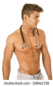 A shirtless medical professional with his stethoscope around his neck.