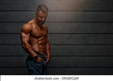 Shirtless, Muscular Fashion Male Model