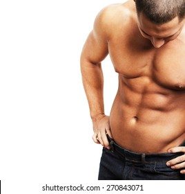 Shirtless muscular male body on white background