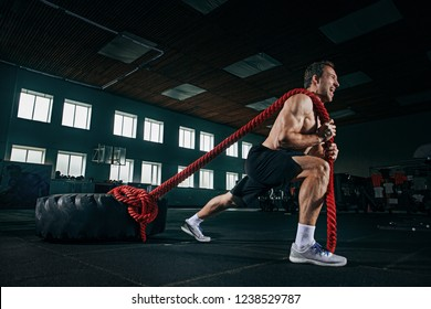 Shirtless young fit man flipping heavy tire with battle rope at gym. The exercise, fitness, sport, workout, athlete, power, training, bodybuilding concept