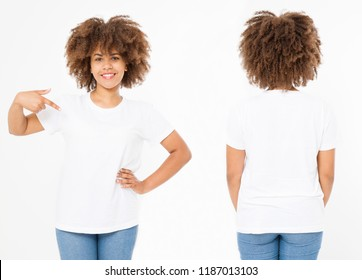 Shirts set. Summer t shirt design and close up of young afro american woman in blank template white t-shirt. Mock up. Copy space. Curly hair. front and back view.