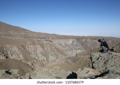 SHIRVAN CANYON, IRAN - SEPTEMBER 29: A photographer take a shot in Shirvan Canyon on September 29, 2017 in Ardebil, Iran. Shirvan Canyon was formed by lavas that eructate from Mount Savalan.