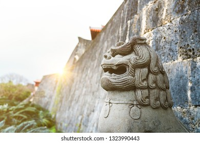 A Shisa or Dog cross lion guardian statue in front of Shuri Castle in Okinawa,Japan. It is Ryuyuan art.