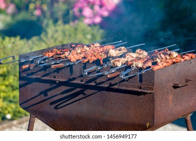 Shish kebab is fried on a brazier. There is smoke. Brazier rusty. In the background are blurred flowers.