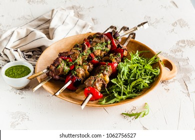 Shish kebab of lamb with pesto