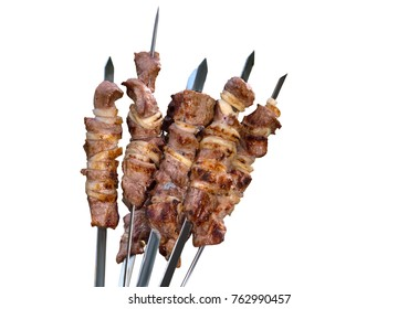Shish kebab, meat on isolate