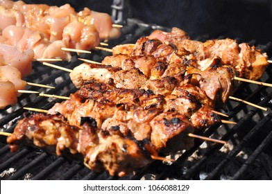 shish kebab in the open air on the grill.cooking meat on the street. street food. picnic. family rest. meat on the shampoo. heat from roast meat. heat from coals on the grill. Shish kebab from chicken