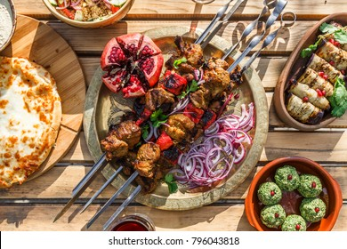 Shish kebab or shashlik, grilled meat skewers, traditional georgian dish, top view