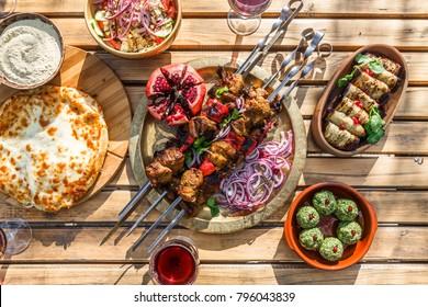 Shish kebab or shashlik, grilled meat skewers, traditional georgian dish, top view