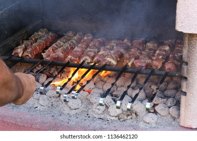 Shish kebabs are fried on the grill