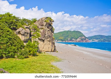 Shishi Rock and Shichirimihama beach in Kumano city, Mie prefecture, Japan.