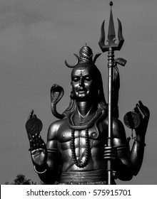 'Shiva'- The God With The 3rd Eye.  Seen here is a monochrome photo of a statue of Lord Shiva, one of the 3 main gods in Hinduism.